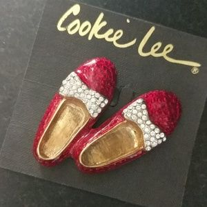 NWT  ~ COOKIE LEE Red Slippers Brooch/Pin
